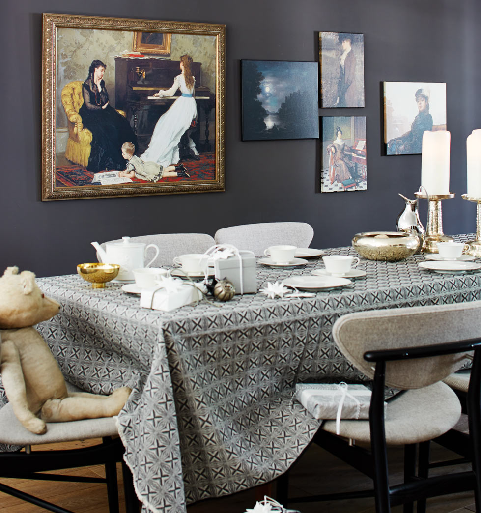 Dining room at Christmas time with classic art
