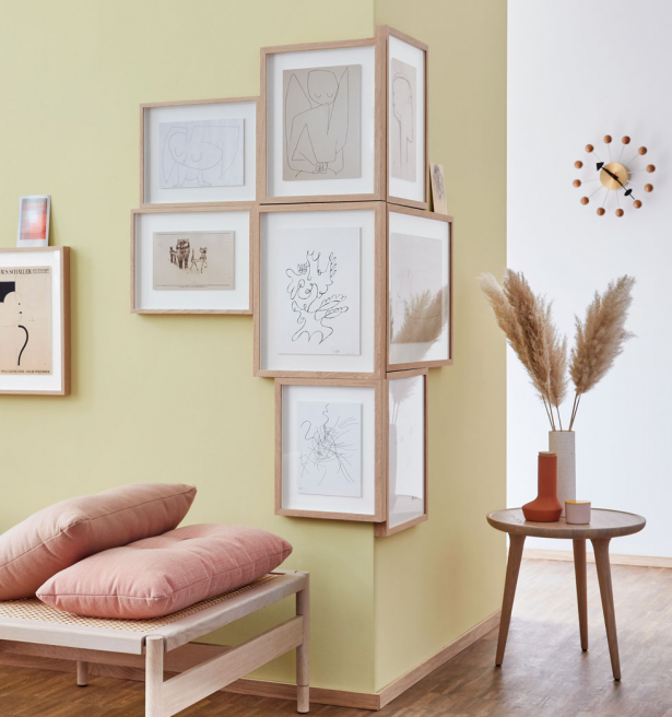 Graphic art refined with wooden frame.