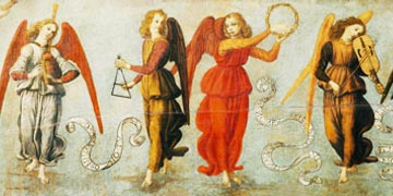 Angels playing musical instruments by Francesco Botticini