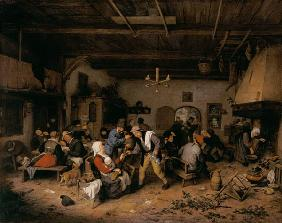 Men and women in a tavern