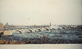 The Opening of the Waterloo Bridge on the 18th of June, 1817, etched by A. Pugin from a drawing