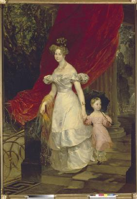 Portrait of Grand Duchess Elena Pavlovna of Russia (1807-1873) with her daughter Maria