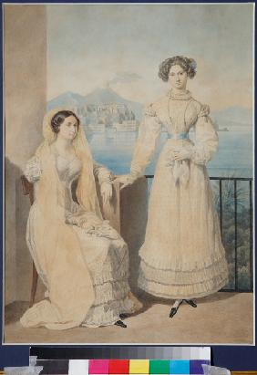 Portrait of Sisters Countesses Dorothea (1804-1863) and Catherine (1803-1888) von Tiesenhausen