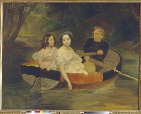 Self-portrait with Baroness Yekaterina Meller-Zakomelskaya and her daughter in a boat