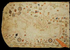 The entire Mediterranean Basin, from a nautical chart (ink on vellum)