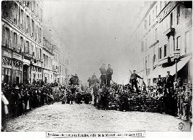 Barricade in the Rue de Flandre, during the Commune of Paris, 18th March 1871