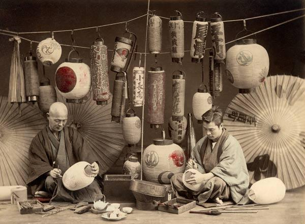 Scene in a Japanese Lantern work Shop (b/w photo) (b/w photo)