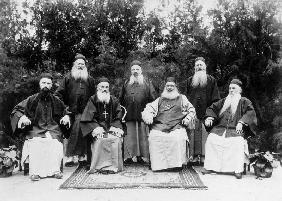 Jesuits from a mission in China, c.1900 (b/w photo)