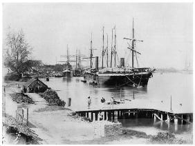 Liners of the Messageries Maritimes at Saigon, c.1900 (b/w photo)