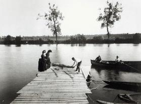 Boating Scene in the area of the Ile-de-France, c.1880 (b/w photo)