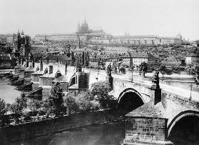 View of Prague showing the Imperial Palace (Hradschin) and the Charles Bridge