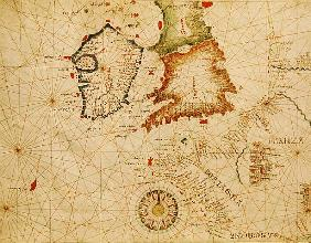 The French Coast, England, Scotland and Ireland, from a nautical atlas, 1520(detail from 330910)