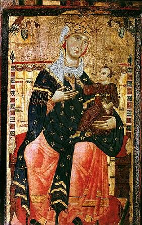 Enthroned Madonna and Child, c.1260 (canvas laid over poplar)
