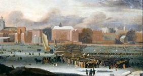 A Frost Fair on the Thames at Temple Stairs