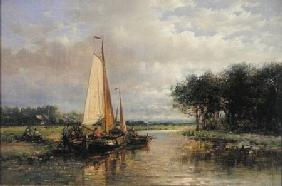 Dutch Barges on a River