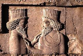 Two dignitaries, from the northern wing of the Apadana east stairway facade