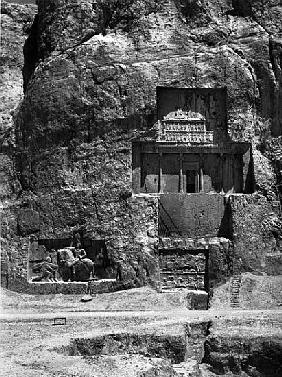 The rock-cut tomb of Artaxerxes I, c.466-464 BC, with a Sasanian relief below depicting Shapur I''s