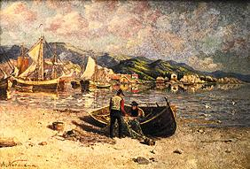 Fiord scene with fishermen