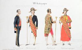 Uniforms from the Court of the Russian Tsar, 1855 (watercolour on paper)