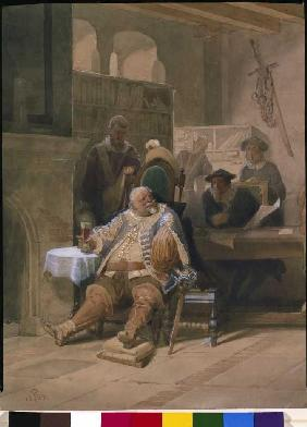 Falstaff scrutinizes his recruits (detail)