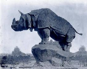 Rhinoceros, 1878, by Alfred Jacquemart (1824-96) in front of the Trocadero Palace, constructed for t