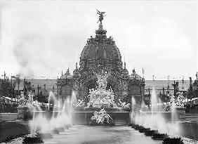 View of the Central Dome and the Fountain Coutan, Universal Exhibition, Paris, 1889 (b/w photo)