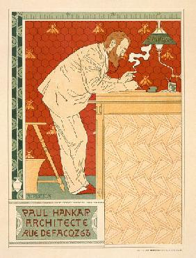 Reproduction of a poster advertising the architectural practice of Paul Hankar