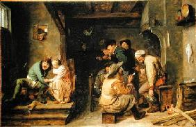 A tavern interior with peasants carousing