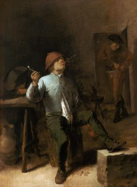 Farmer smoking pipe