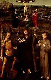 The hll. Andreas and Franz of Assisi as well as the archangels' Michael in front of the crucified Sa