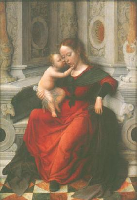 Madonna with child in a niche sitting enthroned
