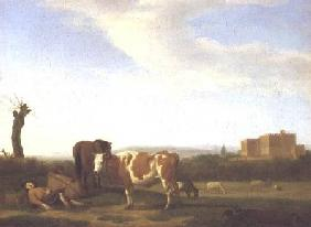 A Pastoral Landscape with a Sleeping Herdsman