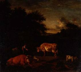 Shepherdess and a Drover with their Flocks by a Classical Fountain in a Wooded Landscape
