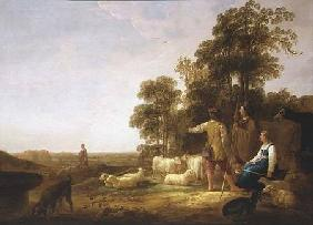 Cuyp, Aelbert : A Landscape with Shepherds...
