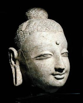 Head of a smiling Buddha, Greco-Buddhist style, from Afghanistan