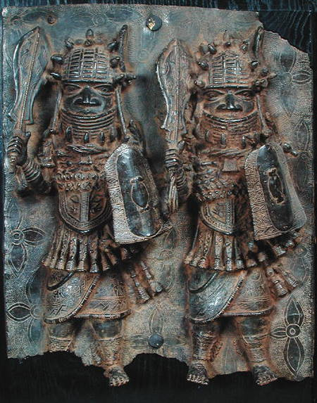 Benin Plaque With Two Warriors Nigeria African As Art