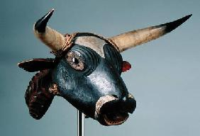 Bull Mask, Bijogo Culture, Bissagos Islands (wood, glass, horn & leather)