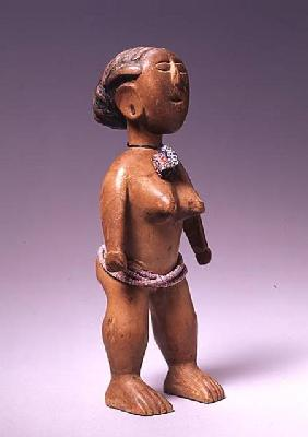 Ewe Female Figure from Ghana (wood & glass)