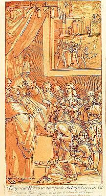 Emperor Henri IV (1050-1106) at the feet of Pope Gregory VII (1020-85) ; engraved by Nicolas Le Sueu