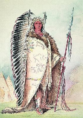 Sioux chief, ''The Black Rock'' (hand-coloured litho)