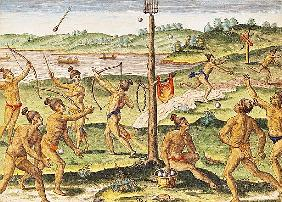 Indians Training for War, from ''Brevis Narratio...''; engraved by Theodore de Bry (1528-98) 1591