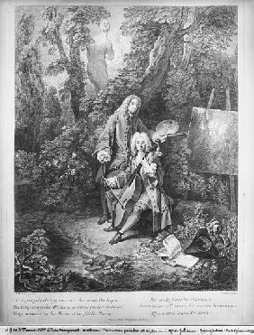 Jean Antoine Watteau and his friend Monsieur de Julienne; engraved by Nicolas Henri Tardieu (1674-17