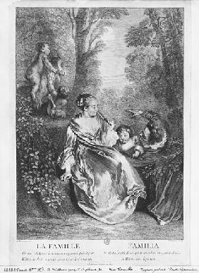 The Family; engraved by Pierre Aveline (c.1656-1722)