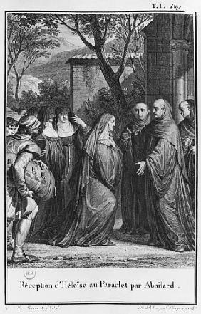 Abelard welcoming Heloise at Paraclete, illustration from ''Lettres d''Heloise et d''Abelard'', volu