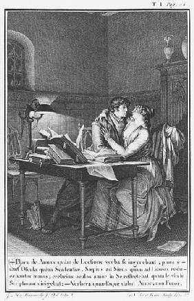 Heloise and Abelard in their study, illustration from ''Lettres d''Heloise et d''Abelard'', volume I