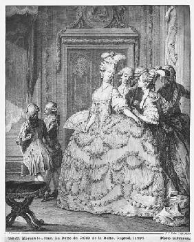 The lady at the Palais de la Reine; engraved by Pietro Antonio Martini (1739-97)