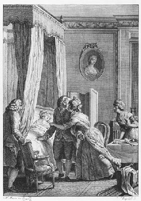 The visit of the doctor from Boson, illustration from ''La Nouvelle Heloise'' Jean-Jacques Rousseau