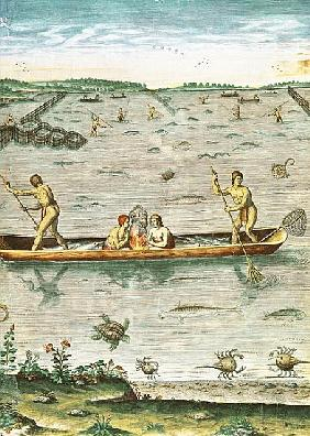 How the Indians Catch their Fish, from ''Admiranda Narratio...''; engraved by Theodore de Bry (1528-