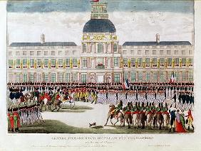 Parade in the Courtyard of the Palais des Tuileries in the Presence of the Emperor; engraved by Blan