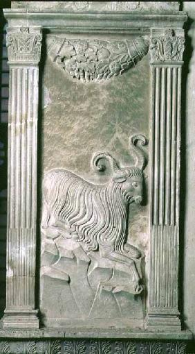 Aries represented by a ram from a series of reliefs depicting planetary symbols and signs of the zod